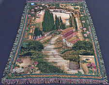 South of France Cypress Trees Tapestry Afghan Throw