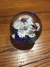 VERY COOL GLASS MORANO PAPER WEIGHT WITH BUTTERFLIES