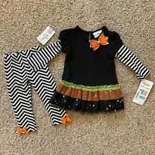 RARE EDITIONS 2 PIECE HALLOWEEN DRESS & LEGGINGS OUTFIT CUTE 24 MO. NEW W/ TAGS