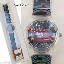 """NEW DISNEY PIXAR 'CARS' WATCH 1-1/4"""" FACE PRINTED BAND CHILDS TIME PIECE (TC)"""