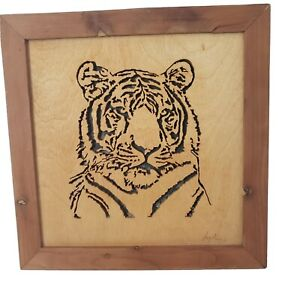 """Tiger Scroll Saw Wooden Artwork Wall Framed Vintage Handcrafted 11"""" Wall Art"""