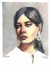original painting A4 203SE art samovar watercolor Modern female portrait Signed