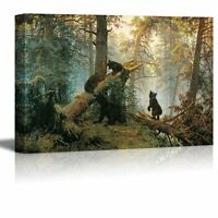 Morning in a Pine Forest Painting by Ivan Shishkin Giclee Canvas Prints - 16x24