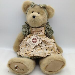 Boyds Bears Mrs. Beezley Head Bean Collection Bee Dress Plush Bear 16""