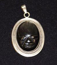 Sterling Silver Signed Hecho en Mexico Pendant with Oval Onyx Tribal Mask Stone