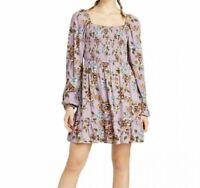 NWT Xhilaration Women's Floral Long Sleeve Square Neck Smocked Top Mini Dress