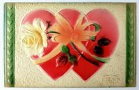 1910 Bright Heavily Embossed Hearts To My Valentine Postcard Ribbon Flower