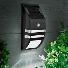 Solar Powered LED Security Wall Light Spotlight PIR Sensor Porch Outdoor - BLACK