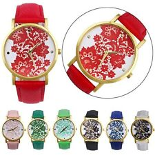Womens Fashion Watch Lace Printed Faux Leather Quartz Analog Dress Wrist Watches
