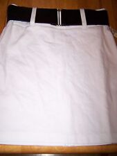 New Maurices White Pencil Skirt With Wide Black Belt Size 5/6 5 6