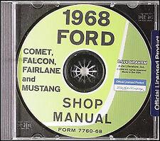 1968 Mercury CD Shop Manual Cougar Cyclone Montego Comet XR7 MX Repair Service