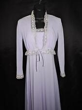 Vintage 70s Xs Purple Empire Maxi Dress Pleated Top Crochet Trim With Jacket 5