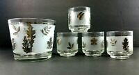 Libby Glass Tumblers Ice Bucket Barware Frosted Silver Leaves 5 Piece Vintage