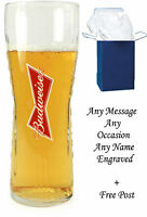 Personalised Engraved Branded 1 Pint Budweiser Beer Glass Wedding Birthday gifts