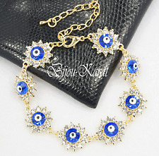 Nazar Evil Eye 18 KGP Gold Strass Armband Türkisches Magisches Auge Böser Blick
