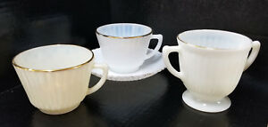 VTG MacBeth-Evans Petalware Cremax Monax Milk Glass Cup Saucer Open Sugar Bowl