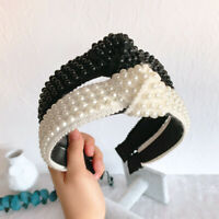 Women's Tie Pearl Headband Hairband Floral Knot Lace Hair Bands Hoop Accessories