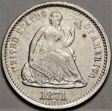1871-S Seated Half Dime Choice Extremely Fine XF H10c Coin from Old Collection