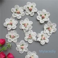 1yd Vintage Flower Pearl Lace Edge Trim Wedding Ribbon Applique Crochet Patches