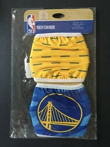 Golden State Warriors YOUTH SIZE Licensed 2 Pk Face Mask Covering - 50% Off SRP!