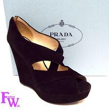 PRADA Size 8.5 Black Suede Cross Strap Wedge Heels 8 1/2 Shoes 39