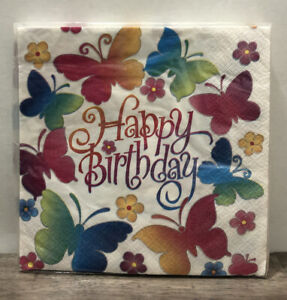 Pack of 16 Rainbow Butterfly Happy Birthday Napkins