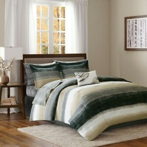 Olive Green, Brown, & White Native Southwest KING Comforter Set (9 Piece Set)