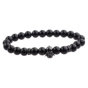 Mens Star Wars Darth Vader Bracelet 8mm Black Onyx Stone Macrame Bracelets Gift