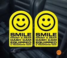 Sonrisa Dashcam Decal/Sticker Pegatina De Advertencia De Cctv. en Coche Par 95x60mm cada uno