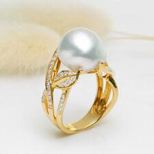 Baroque White Australia South Sea Cultured Pearl Ring 18k Yellow Gold Diamonds
