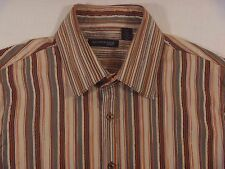 Men's Kenneth Cole NY Tan Striped Button Front Dress/Casual Shirt French Cuff XL