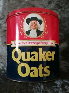 RARE, VINTAGE/RETRO EMPTY LARGE ROUND QUAKER OATS PORRIDGE STORAGE TIN