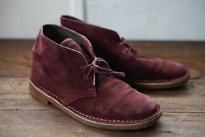 Clarks Originals Desert Boot Wine burgundy dark red suede Size 9.5 28 cms