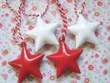 4 x Christmas Red and White Star Bells Festive Christmas Tree Decoration