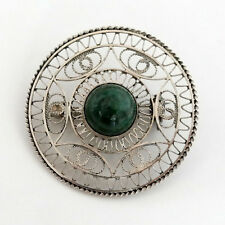 Handmade Filigree Sterling Silver Brooch/Pin with Green Stone Cabochon