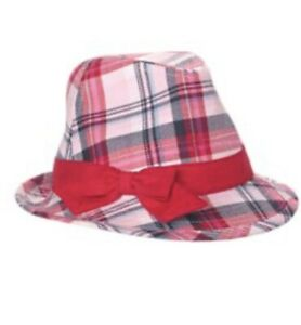 Gymboree New York Girl Fedora Hat 8 And Up Plaid White Blue Pink Red Bow