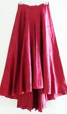 Vtg GIGI CLARK Burgundy Red Taffeta Aline Highwaist Highlow Dressy Ball Skirt,XS