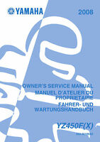 Yamaha YZ450F (X) 2008 Owners Service Repair Manual Free Shipping