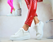 Damen Halbschuhe Plateau Sneaker Freizeit Sportschuhe Turnschuhe Skater WEIß