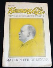 HUMAN LIFE THE MAGAZINE ABOUT PEOPLE JANUARY 1909 VINTAGE MAYOR SPEER OF DENVER