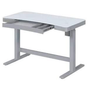 "Tresanti 47"" Adjustable Height Desk, Illumitouch, Charging Station, White"