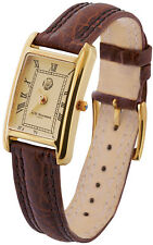 LADIES WATCH (VERMEIL) WITH BROWN LEATHER STRAP 925 SILVER FROM ARI D NORMAN