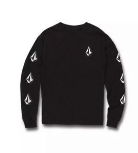 EUC VOLCOM Deadly Stones Long Sleeve Tee Black & White Size Youth Boys XL