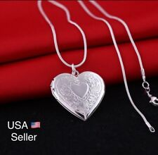 "Wholesale 925 Sterling Silver Necklace, Locket Heart Pendant 18"" Chain"