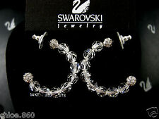 SIGNED SWAROVSKI 14K POST CUT FACETED CRYSTAL RHODIUM EARRINGS NWT RETIRED RARE