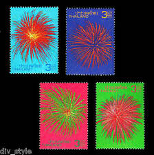 New Year's Fireworks set of 4 mnh stamps + Souvenir Sheet Thailand 2012
