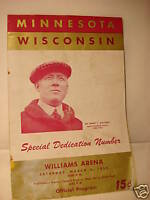 1950 BBall Program MINNESOTA vs WISCONSIN Arena Dedicat