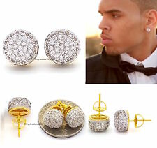 Mens 18k Yellow Gold Filled Lab Diamond Back Hip Hop Stud Earrings
