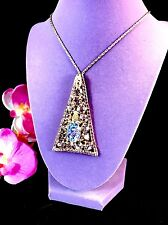 JULIANA D&E NECKLACE AMETHYST RHINESTONE OVAL STIPPLED CABOCHON TRIANGLE PENDANT