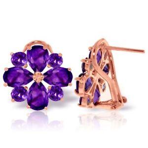 Genuine Amethyst Gems Flower Design Studs 14K Rose Gold Earrings (4.85 ct